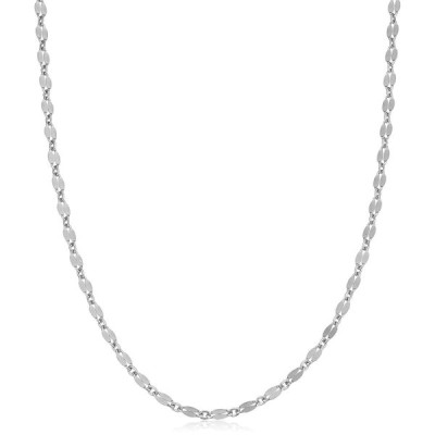 Sterling Silver Mirror Link Chain Necklace (3.4mm, 30 inch)