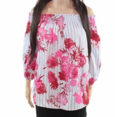 ファッション トップス INC Womens Blouse Blue Size Large L Striped Floral Print Off-Shoulder