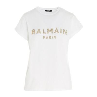 バルマン レディース Tシャツ トップス Balmain Logo Embellished T-Shirt -