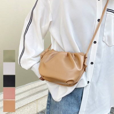 ショルダーバッグ斜めがけ軽い軽量小さめPUレザーシャーリング無地合成皮革バッグ鞄レディース