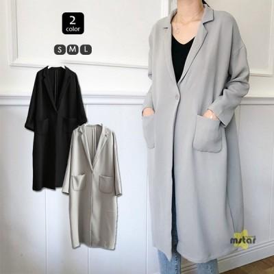 チェスターコート レディース スプリングコート ロング 開襟 長袖 薄手 無地 上品 春服 コート アウター シンプル