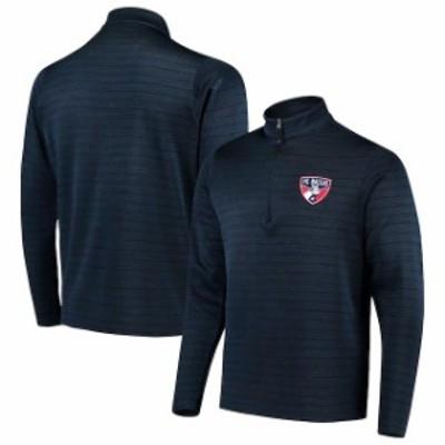 Antigua アンティグア スポーツ用品  Antigua FC Dallas Navy/Heathered Gray Frontier Quarter-Zip Pullover Jacket