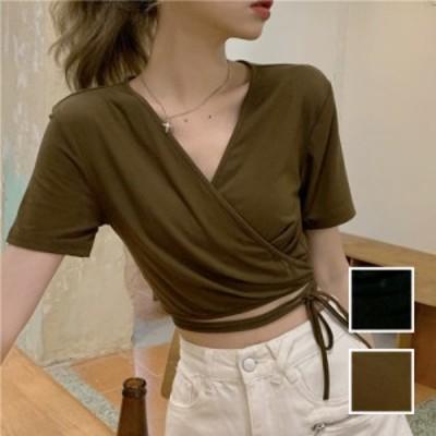 韓国 ファッション レディース トップス Tシャツ カットソー 春 夏 カジュアル naloK312  カシュクール 肌見せ Tシャツ カットソー シン