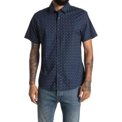スレートアンドストーン メンズ シャツ トップス Short Sleeve Point Collar Shirt Navy Geometric Print
