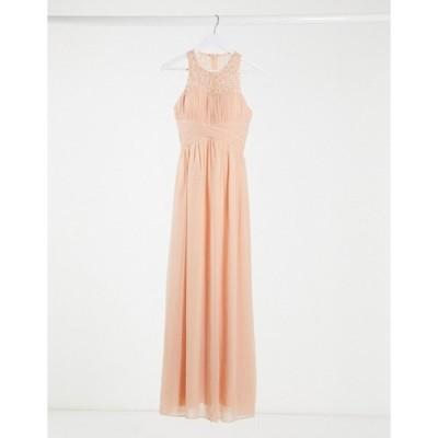 リトルミストレス レディース ワンピース トップス Little Mistress bridesmaid lace detail maxi dress in peach