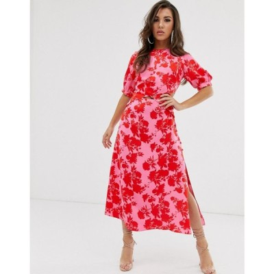 エイソス ASOS DESIGN レディース ワンピース ワンピース・ドレス puff sleeve wrap front midi dress with cutout in floral print Bright floral