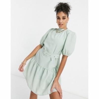 ユニーク21 UNIQUE21 レディース ワンピース ワンピース・ドレス Unique21 Belted Smock Dress セージグリーン