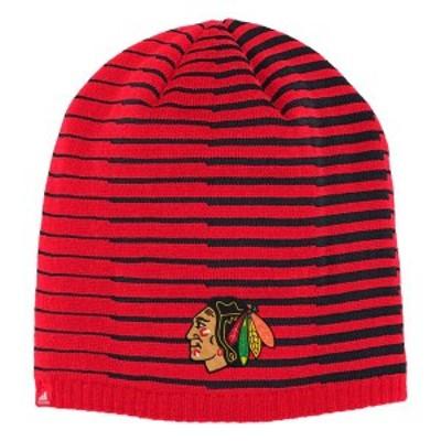 アディダス メンズ 帽子 アクセサリー Chicago Blackhawks adidas Pattern Knit Beanie Red/Black
