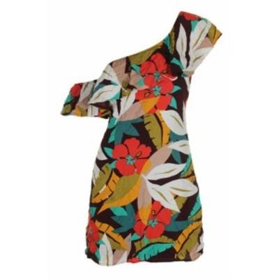 ASTR アストール ファッション ドレス Astr Wine Multi Marisol One-Shoulder Flounce Mini Dress S