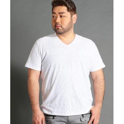 【ハイダウェイニコル】 <大きいサイズ>市松×ボーダー柄半袖Vネッ メンズ 09ホワイト 54(4L) HIDEAWAYS NICOLE