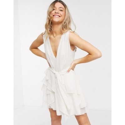 エイソス レディース ワンピース トップス ASOS DESIGN soft layered mini dress with tie waist detail in cream