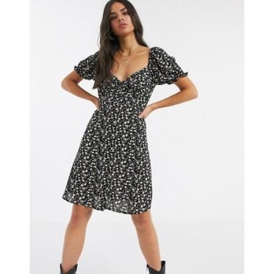 ヴィラ レディース ワンピース トップス Vila floral sweetheart neckline dress