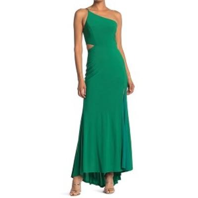 ジャンプ レディース ワンピース トップス One-Shoulder Side Cutout Gown EMRLD