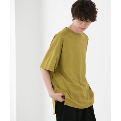 coen レディース FEELING MADE クイックドライ天竺 ダイアゴナルライン ビッグTシャツ トップス Tシャツ/カットソー オリーブ