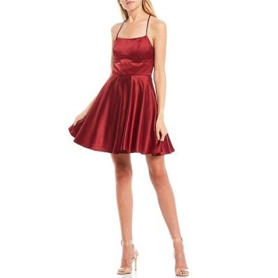 ビーダーリン レディース ワンピース トップス Lace-Up Back Satin Fit-and-Flare Dress