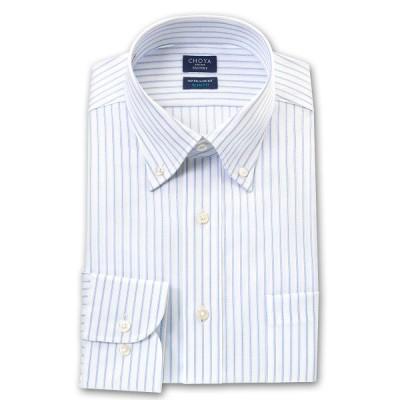 CHOYA SHIRT FACTORY 日清紡アポロコット 長袖 ワイシャツ スリムフィットモデル 形態安定加工 スカイブルー&白ドビーヘリンボーンス
