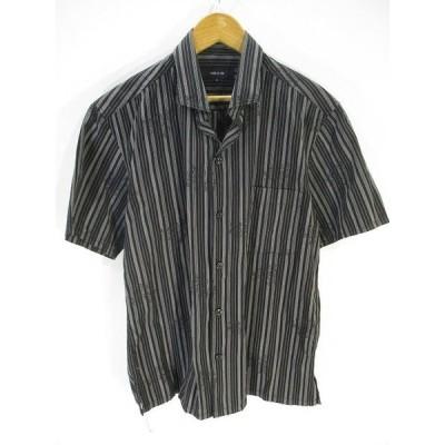 【中古】コムサイズム COMME CA ISM カジュアル シャツ 半袖 ストライプ 黒 ブラック M メンズ 【ベクトル 古着】