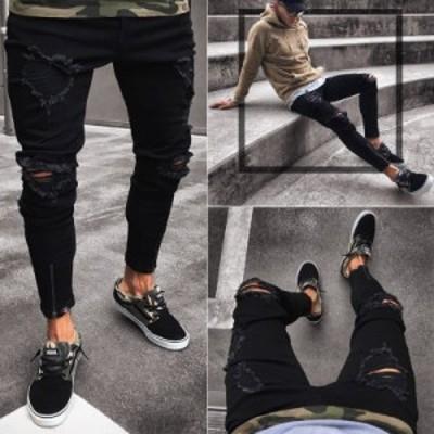 ジーンズ メンズ Gパンツ デニムパンツ ダメージ加工 メンズパンツ ブラック 夏
