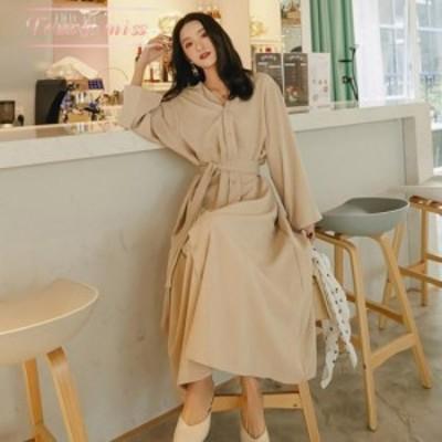 40代のファッションレディース ワンピース ロングシャツワンピース ロングスカート ノーカラーシャツ ベーシックカラー ウエストベルト
