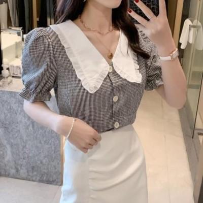 picknfit レディース ブラウス Cutie collar frill check blouse