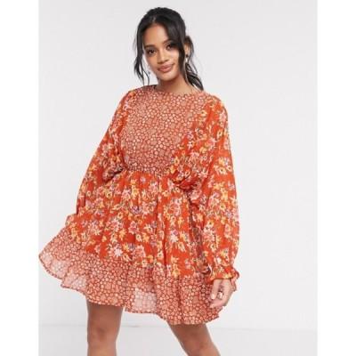 エイソス レディース ワンピース トップス ASOS DESIGN mixed floral print mini skater dress with fluted cuffs