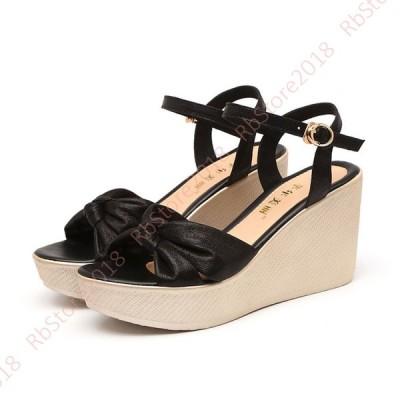 小さいサイズ 大きいサイズ サンダル レディース 靴 アンクルベルト シューズ ウェッジソール プラットフォーム ウェッジサンダル ストラップ 厚底 夏 大人