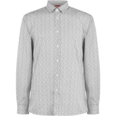 ヒューゴ ボス Hugo メンズ シャツ スリム トップス Elisha Speckled Extra Slim Fit Shirt White