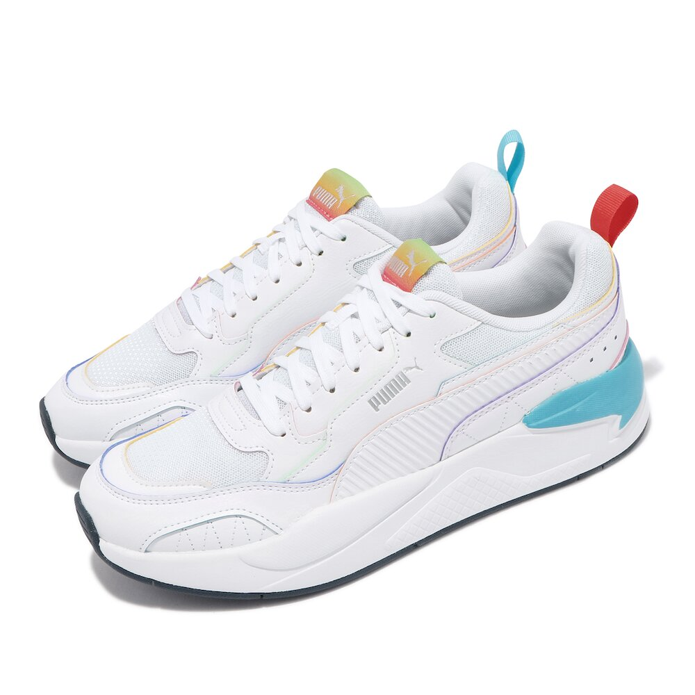 PUMA 休閒鞋 X-Ray2 Square 男女鞋 Rainbow 情侶鞋穿搭 彩虹 白 彩 [36885601]