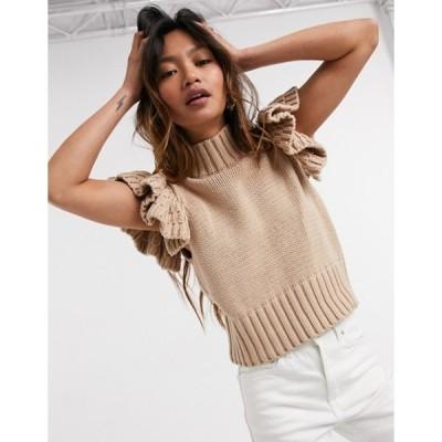 ワイエーエス レディース ニット・セーター アウター Y.A.S high neck knitted top with ruffle sleeve in camel