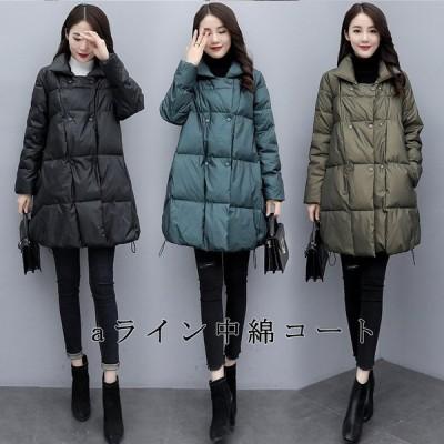 中綿コート キルティングコート コート キルティングジャケット レディース 冬 アウター 40代 無地 冬 aライン 体型カバー 大きいサイズ 50代