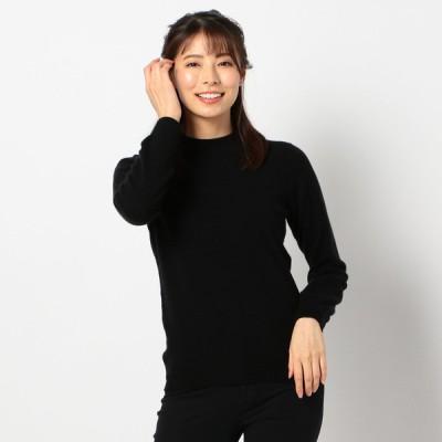 レディース 【在庫限り】洗えるカシミヤ100%ハイネックセーター ブラック L