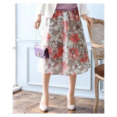 スカート ひざ丈 大きいサイズ レディース 花柄 プリント フレア ミディ丈 L〜10L ニッセン nissen