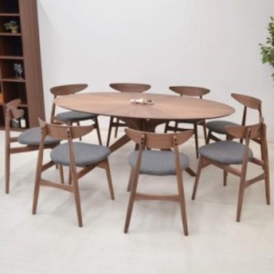 ダイニングテーブルセット 丸テーブル 光線張り 楕円 幅182cm 9点 sbkt182-9-marut351wnfab 8人用 ファブリック アウトレット 66s-6k so