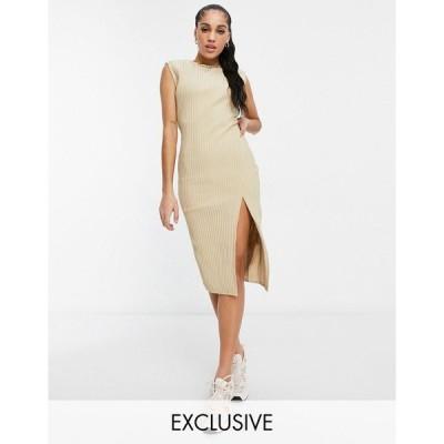 ミスガイデッド ミディドレス レディース Missguided cord midaxi dress with side split in beige エイソス ASOS ベージュ