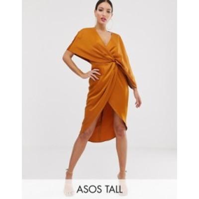 エイソス レディース ワンピース トップス ASOS DESIGN Tall kimono midi dress with knot front and asymmetric sleeve in satin Carame