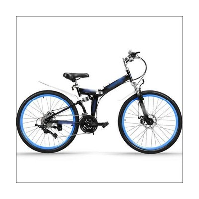YHRJ Adult Bicycle Folding Cross-Country Mountain Bikes,Men's and Women's Variable Speed Road Bikes,Dual Shock Absorbers,MTB High Carbon Ste