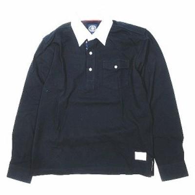 【中古】ジェイプレス J.PRESS ボタンダウン ポロシャツ カットソー 長袖 切替 コットン サイズM 紺 ネイビー メンズ