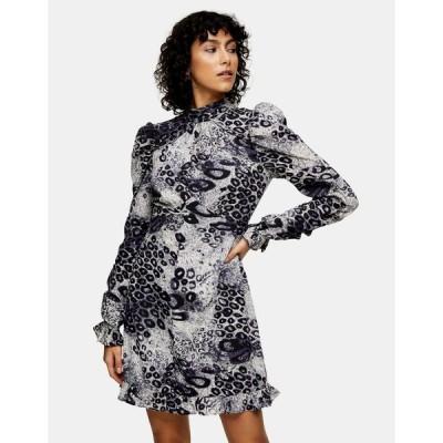 トップショップ ミニドレス レディース Topshop ruched mini dress in monochrome animal print エイソス ASOS マルチカラー