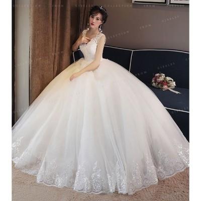 花嫁ドレスウェディングドレス結婚式ノースリーブワンピース花嫁のドレスプリンセスレディース華やかドレス
