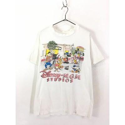 古着 80s USA製 Disney Mickey ミッキー 「MGM STUDIOS」 Tシャツ L 古着