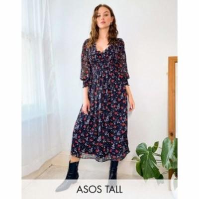 エイソス ASOS Tall レディース ワンピース ミドル丈 ワンピース・ドレス Tall Midi Smock Dress With Shirred Cuffs In Spot Floral
