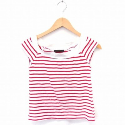【中古】ヴァンスエクスチェンジ VENCE EXCHANGE Tシャツ カットソー ボーダー ボートネック フレンチスリーブ M 白 赤 /FT6 レディース 【ベクトル 古着】