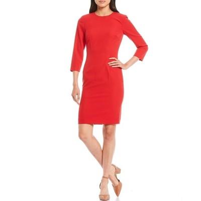 アントニオメラニー レディース ワンピース トップス Mavis Stretch Crepe Long Sleeve Round Neck Sheath Dress Red