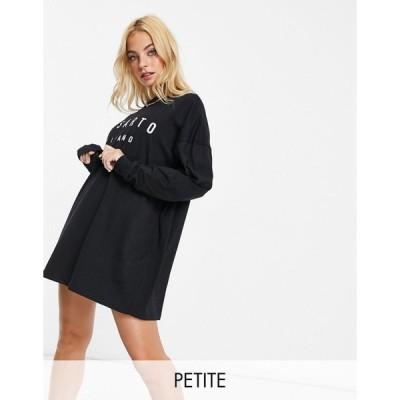 イルサルト ミディドレス レディース Il Sarto Petite long sleeve t-shirt dress in black  エイソス ASOS sale ブラック 黒