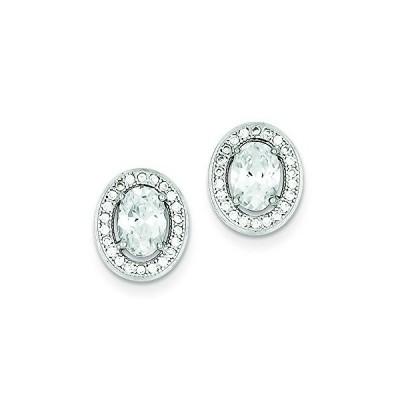 スターリング シルバー Cubic Zirconia Pave オーバル Post Earrings(海外取寄せ品)