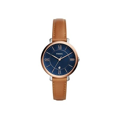 Fossil Women's Jacqueline Stainless Steel Quartz Watch with Leather Calfskin Strap, Brown, 14 (Model: ES4274)【並行輸入品】