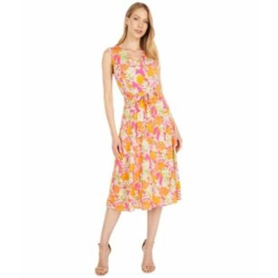 カルバンクライン レディース ワンピース トップス Printed V-Neck Angle Hem Dress Hibiscus/Tangel