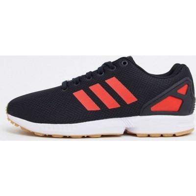 アディダス adidas Originals メンズ スニーカー シューズ・靴 ZX Flux trainers in black and red ブラック