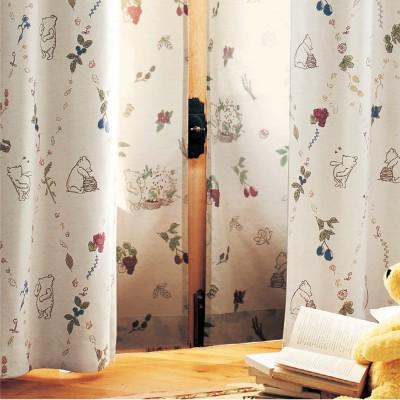 【まとめ買いでお得】UVカット・遮熱・遮像の綿麻混ボイルカーテン「クラシック・プー」(ディズニー)