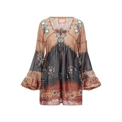 LAS NOCHES IBIZA by ERIC & JACK ミニワンピース&ドレス ブラウン XL コットン 100% ミニワンピース&ドレス